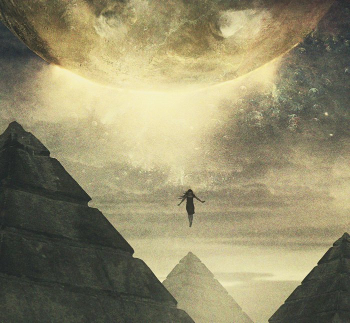 Image of woman ascending near Egyptian pyramids, artwork by Ahmed Emad Eldin