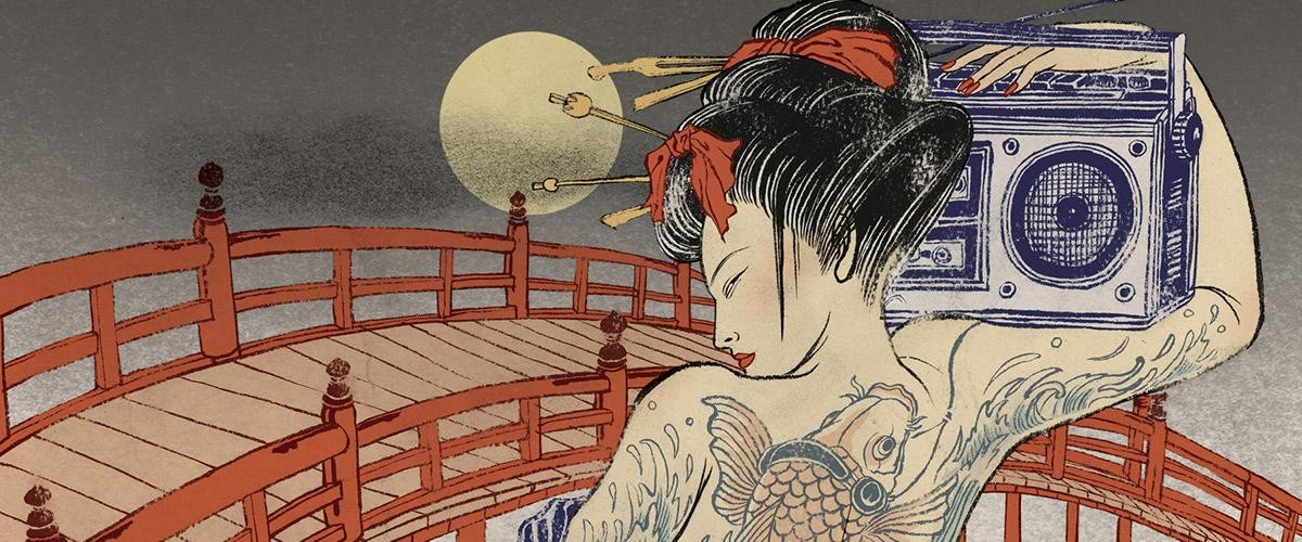 Illustration by Yuko Shimizu, of a Japanese geisha with tattoos and a boom box.