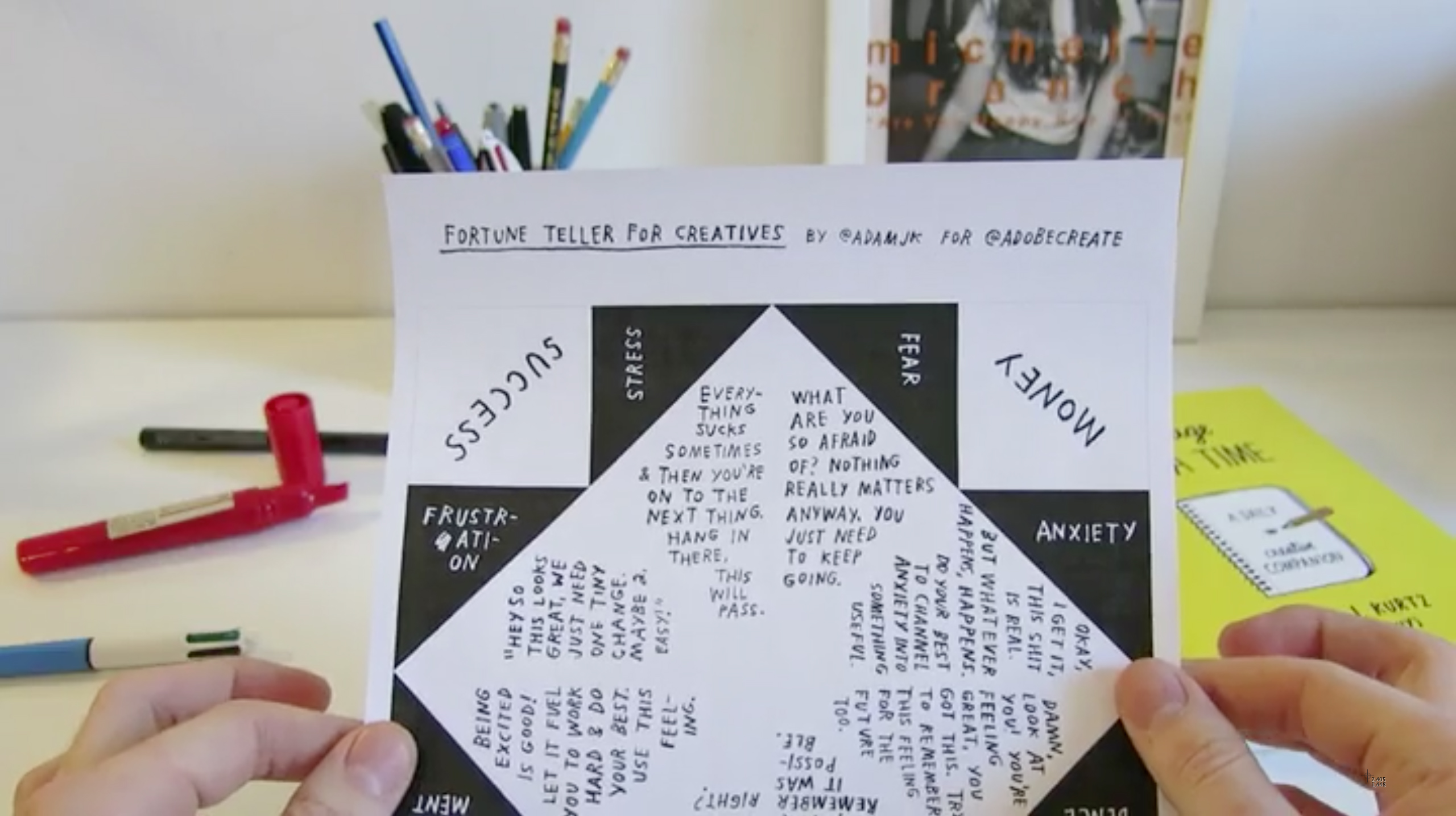 In this video, ADAMJK explains how to fold the paper and use the fortune teller.