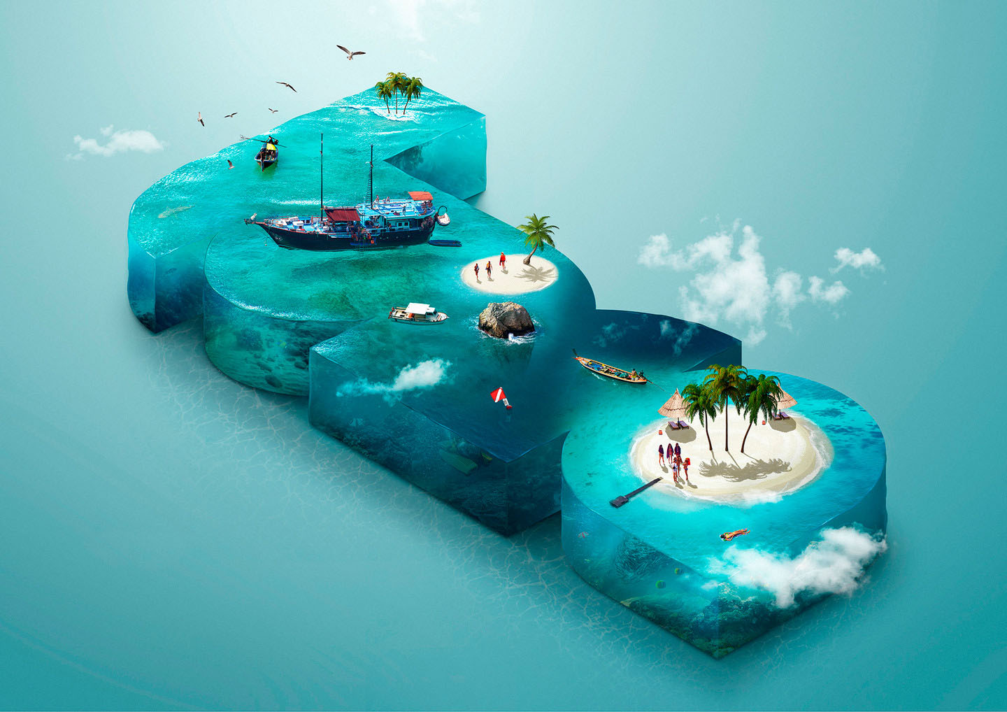 Telling stories with photoshop composites create these photo composites are examples of jacks aquarium series on the left bonaire island on the right luma pictures isometric composition baditri Images