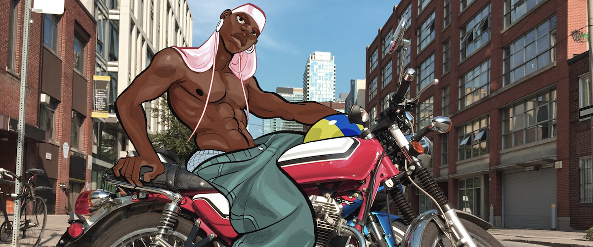An illustration of a young man on a motorcycle, by Gyimah Gariba