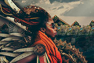 "Tahir Carl Karmali's ""Jua Kali"" series combines photo portraits with found junk."