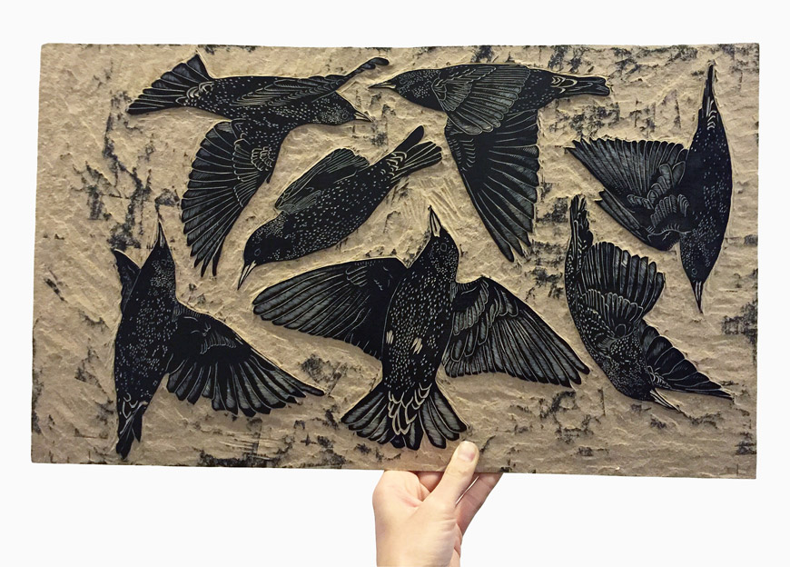 Nic Anette Miller, European starlings woodcut sculpture print