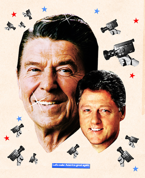 An image of Ronald Reagan and Bill Clinton, by Lincoln Agnew