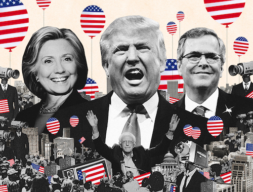 Photo collage of presidential candidates Hillary Clinton, Donald Trump, Bernie Sanders, and Jeb Bush, by Lincoln Agnew