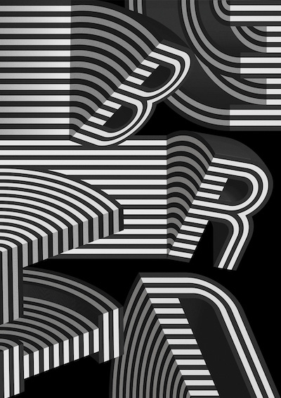 The word BERLIN, created for the 2016 typography conference Show Us Your Type: Berlin Revisited (black and white))