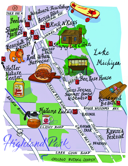 artistic map of Highland Park, Chicago