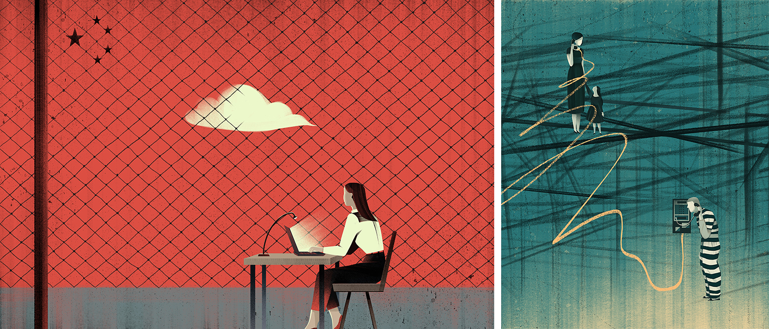 illustrations by Jasu Hu, on the left is a woman behind a chain-link fence; on the right, a woman and a man talk on the phone