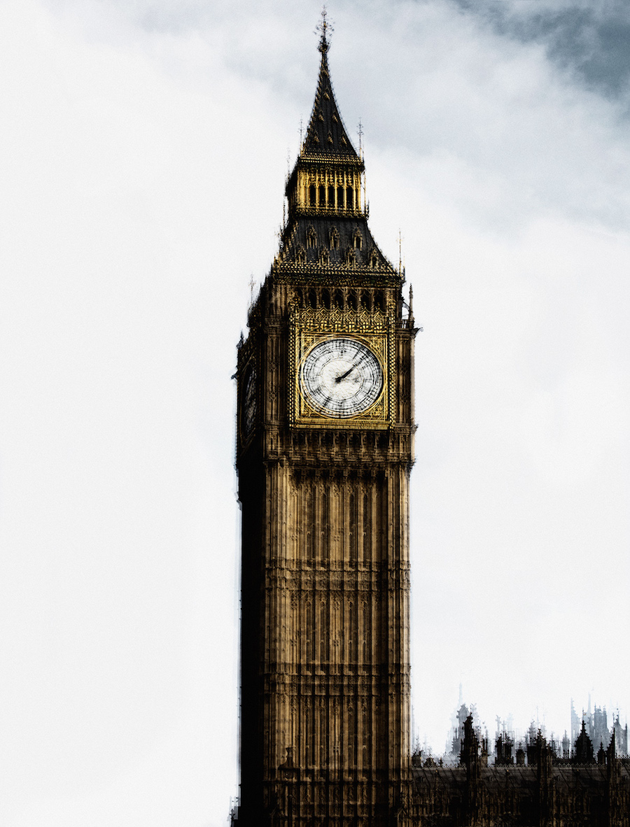 photo-image of London's Big Ben by Carsten Witte, from his Deconstruction series