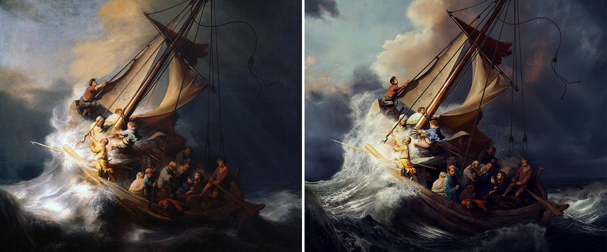 The original stolen Rembrandt painting and the recreation, made with Adobe Stock images and Adobe Photoshop CC.