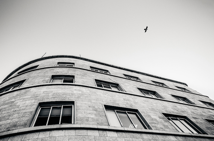 black and white image of a building by Dor Kedmi