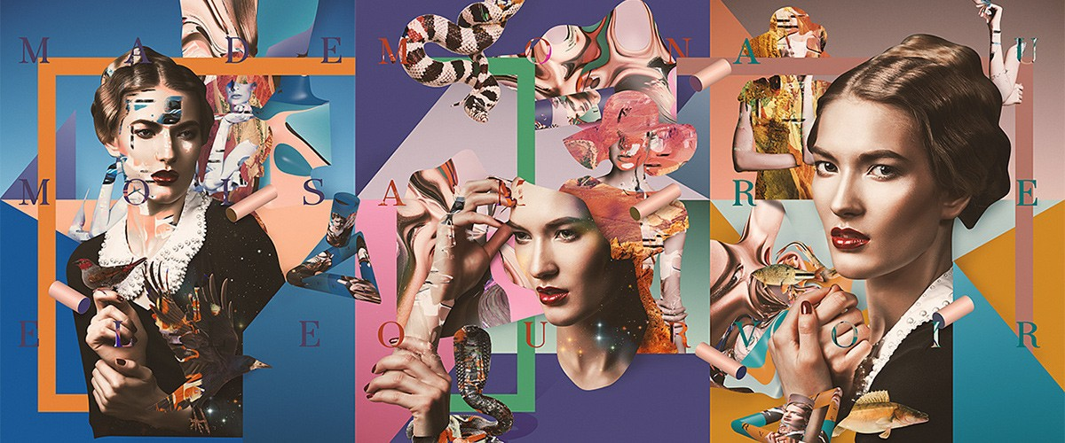 Collage triptych of women by Sebastian Onufszak.