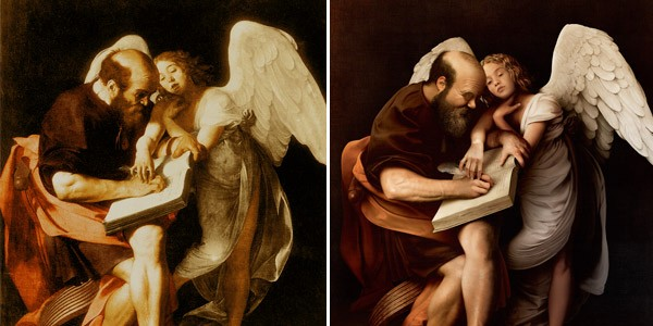 "Jean-Charles Debroize used only Adobe Photoshop CC and Adobe Stock assets to recreate Caravaggio's painting ""Saint Matthew and the Angel"". Original is on the left; re-creation is on the right."