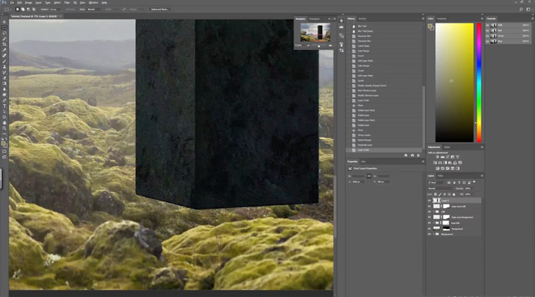Filip Hodas shows how to combine a 3D model and 2D photos in Adobe Photoshop