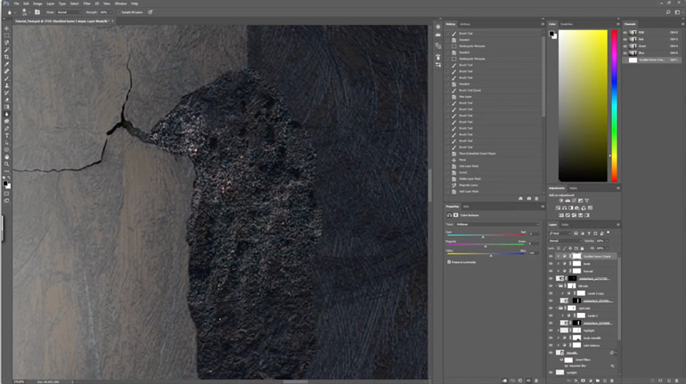 In this final video clip of his creative process, Filip Hodas applies a concrete texture to the 3D object in Adobe Photoshop CC
