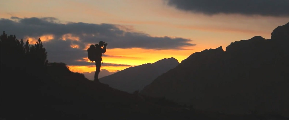 This photo of Michael Shainblum was shot in the Dolomites Mountains in northern Italy.