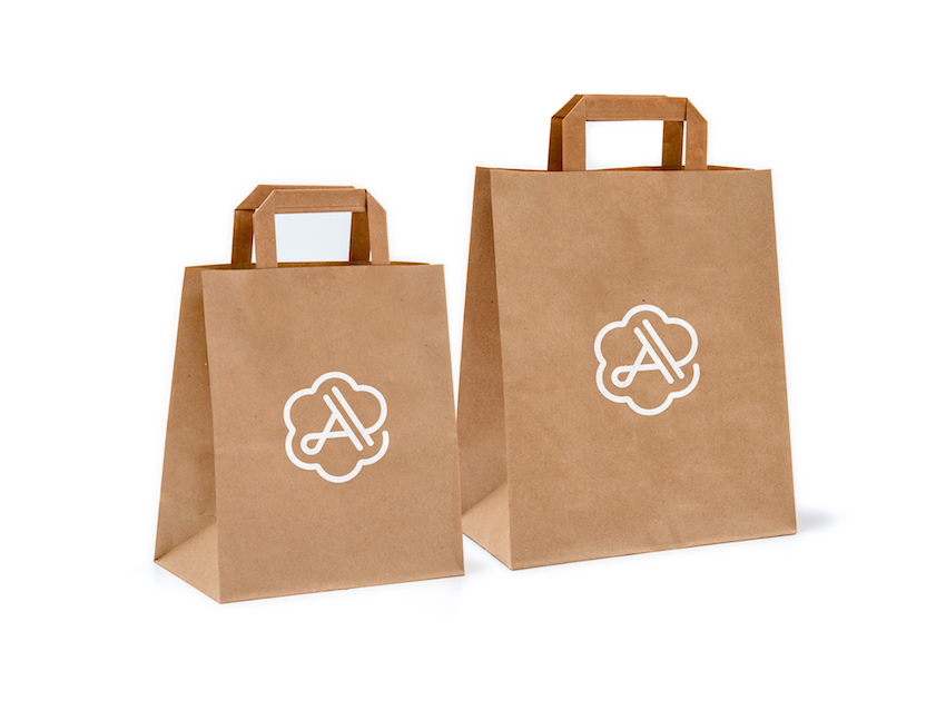 aromayur logo on shopping bags