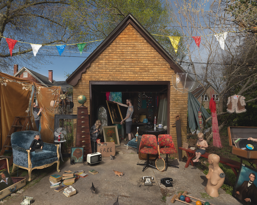 photograph of a garage sale, photo by Julie Blackmon