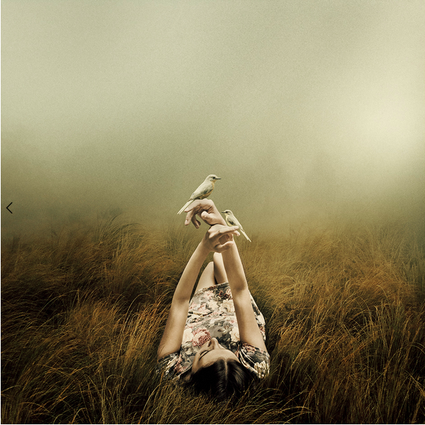 photo composite of a woman with doves, by Martin Stranka