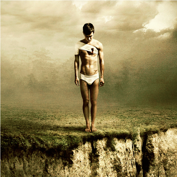 photo composite of a man standing on a cliff, by Martin Stranka