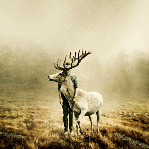 composited image of a man with a stag, by Martin Stranka