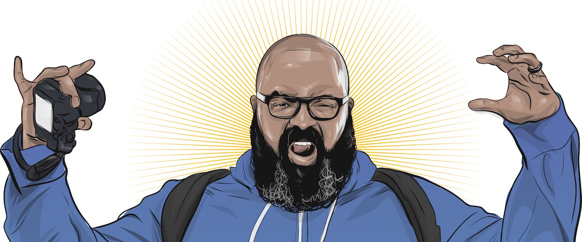 a self-portrait illustration of Rob Zilla