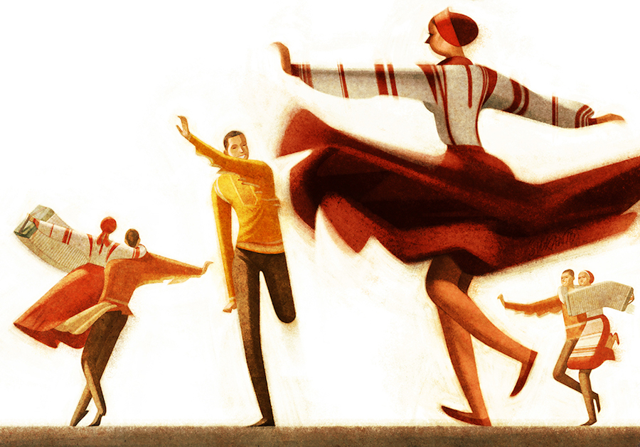 illustration of Hungarian folk dancers, by Sukanto Debnath