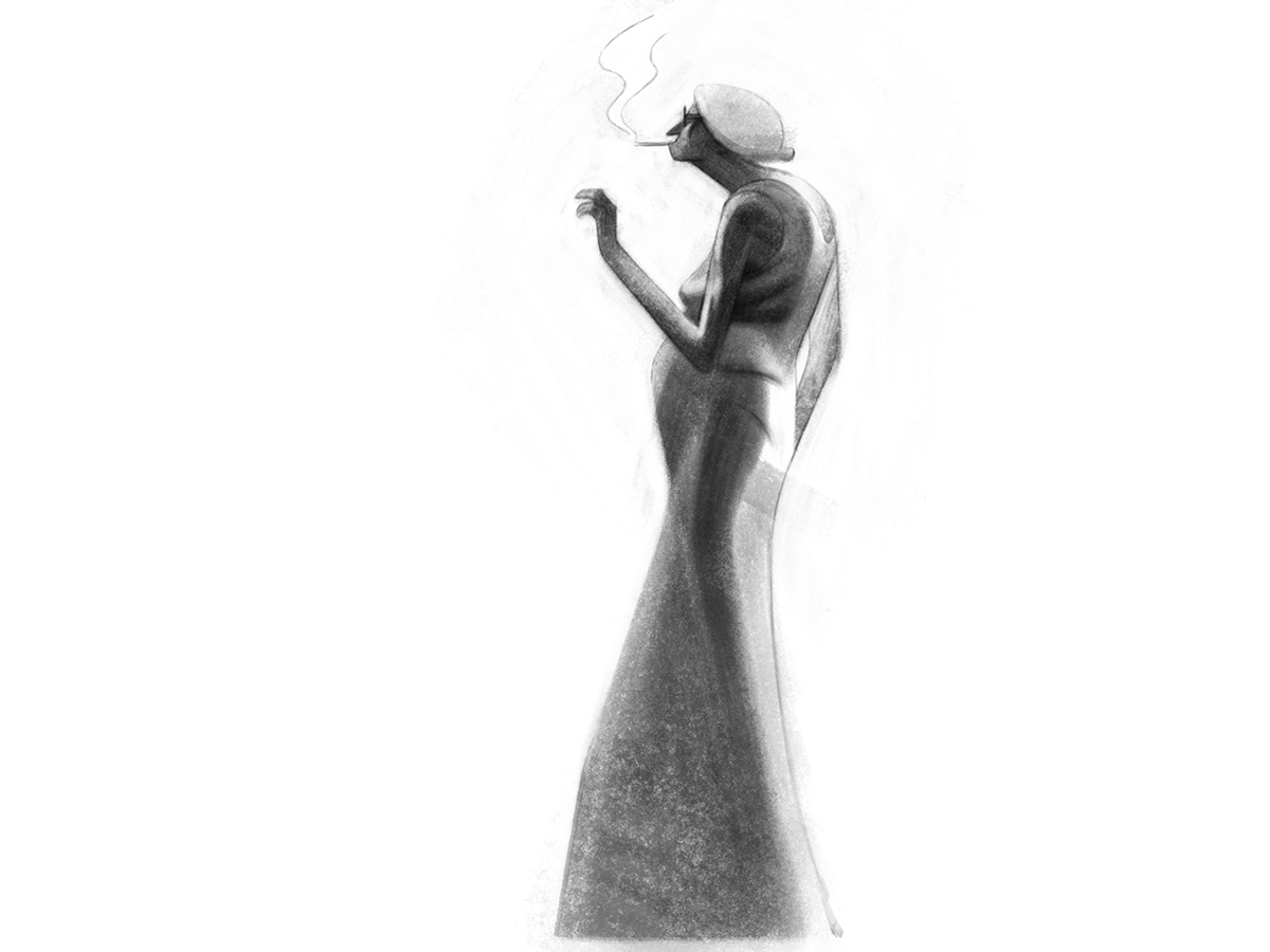 An illustration of a woman smoking, by Sukanto Debnath