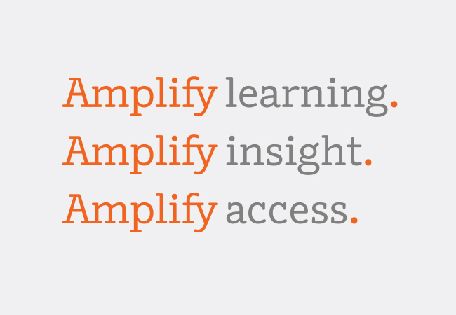 the logo features a custom typeface and was intentionally designed to be adaptable to many uses clifford says the word amplify