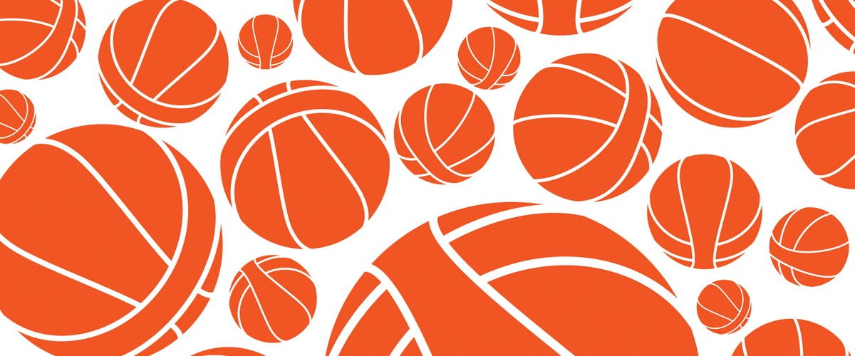 This image is a pattern of basketballs made for the WNBA league redesign