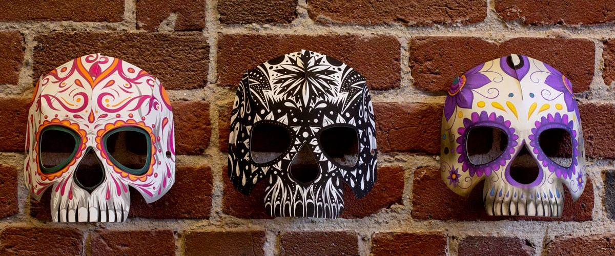 Brian Yap created these printable skull masks from downloadable templates in Adobe apps.