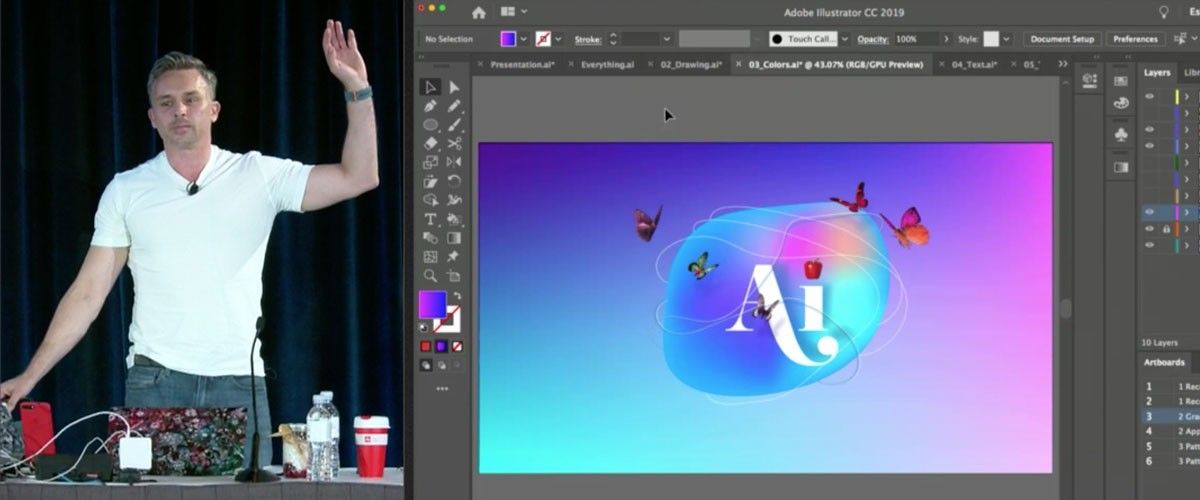 Adobe evangelist Paul Trani showing tips and tricks in Illustrator.