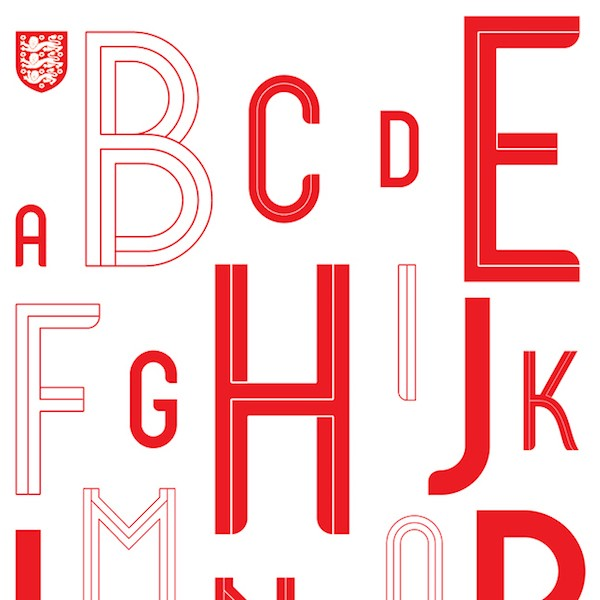 Craig Ward's Custom Typeface for England's 2018 World Cup Kit
