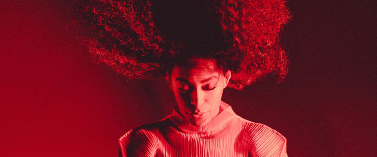 Musician Solange performing at the Day for Night festival in Houston, Texas, as photographed by Chad Wadsworth.