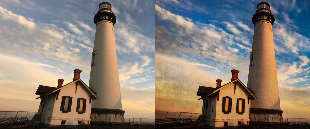 This composite shows the photo before and after Russell Brown modified it with the mobile apps Lightroom, Photoshop Mix, and Photoshop Fix.