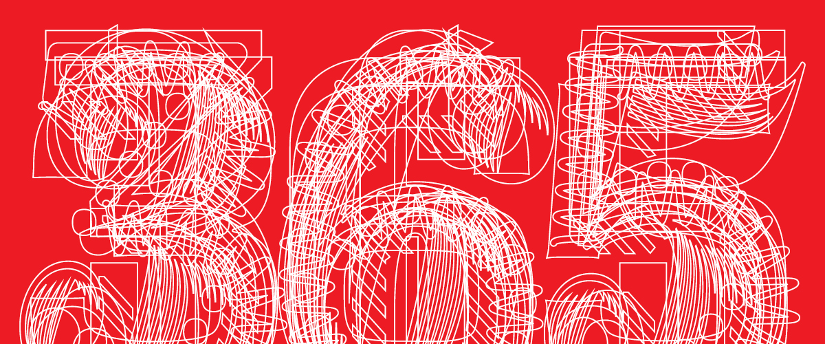 "Kit Hinrichs overlapped the outlines of this year's 12 typefaces to form the ""365"" that appears on the calendar cover."
