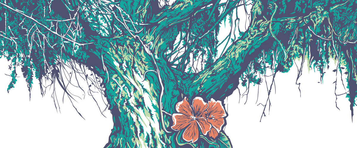 Thanks to the Touch Workspace in Adobe Illustrator CC, Brian Yap began this tree illustration in the Japanese Tea Garden, then finished it in his office.