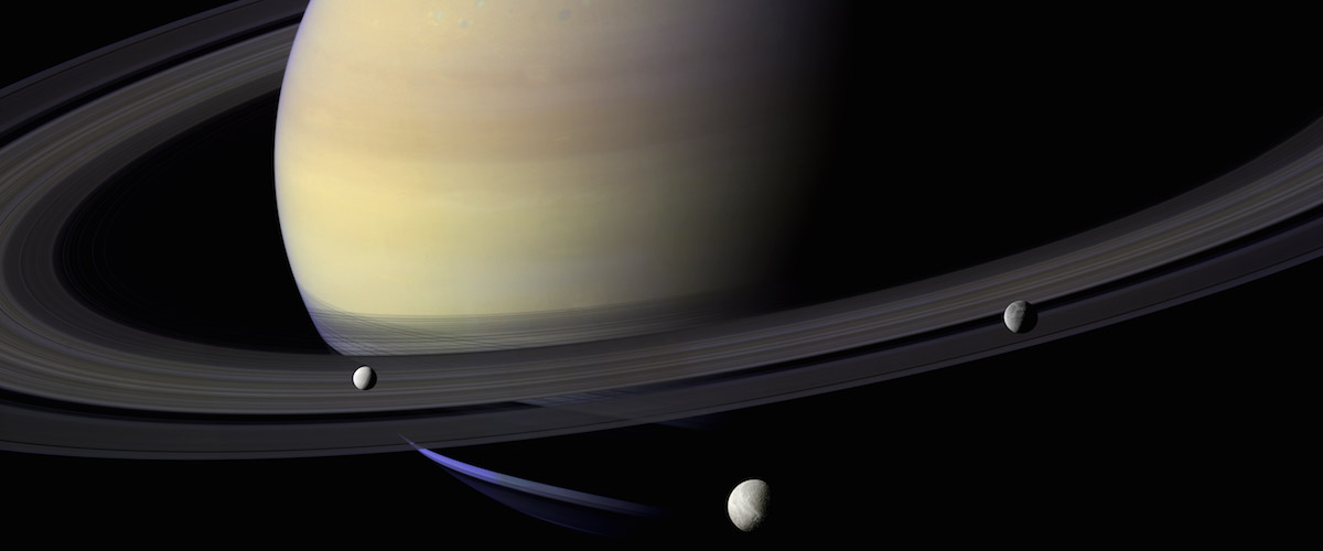 "An image of Saturn from the Cassini spacecraft, used in the new film ""In Saturn's Rings"""