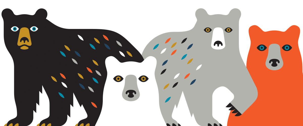 This bear illustration is by Doublenaut. Brothers Matt and Andrew McCracken started the Toronto studio in 2004.