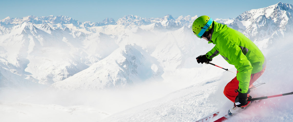 This Adobe Stock photo of a skier is a good start for a dynamic ad that's more likely to excite viewers into buying.