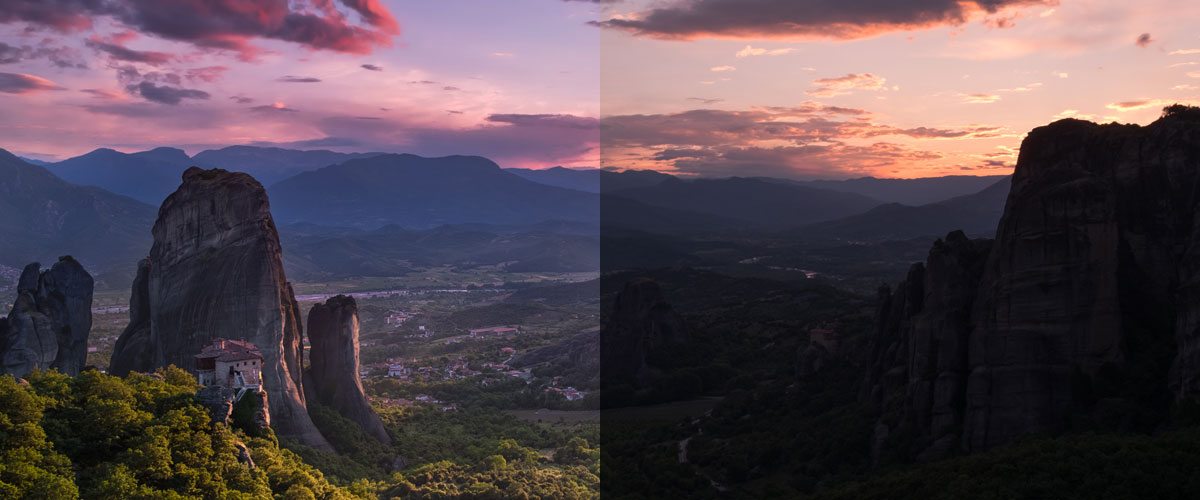 Before and after version of a photo Elia Locardi shot and edited and Adobe Photoshop Lightroom