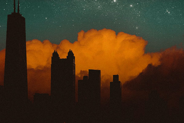 By combining her own photo of the Chicago skyline with Adobe Stock stars and clouds, Elis Swopes creates this new vision.