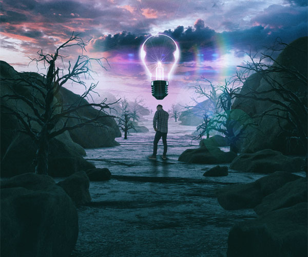 Mike Winkelmann (Beeple) created this image of a man in a surreal landscape with a lightbulb floating in the air..