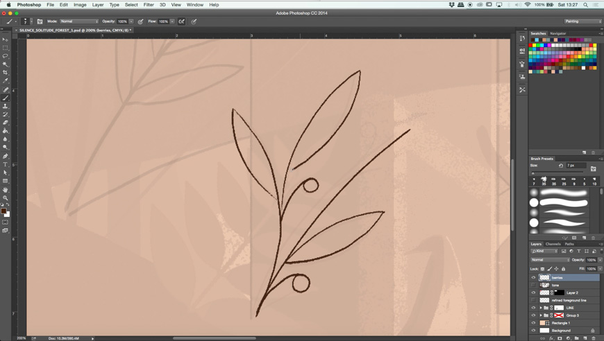 how to draw a peaceful scene in photoshop create