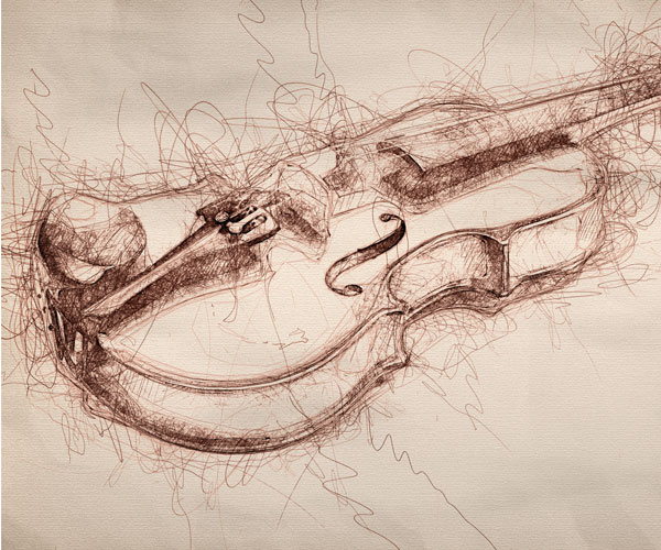 Nuwan Panditha (aka BlackNull) built a fPhotoshop action that turns photos, like this one of a violin, into illustrations.