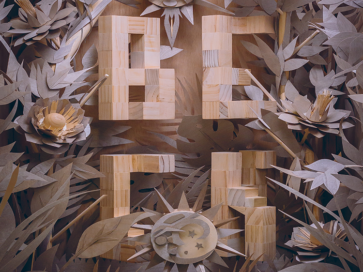 To commemorate a performance by Beck at the 2018 Adobe MAX conference, Brian Yap and Lidia Lukianova built a sculpture out of wood, photographed, and turned that into a printed poster enhanced with augmented reality.