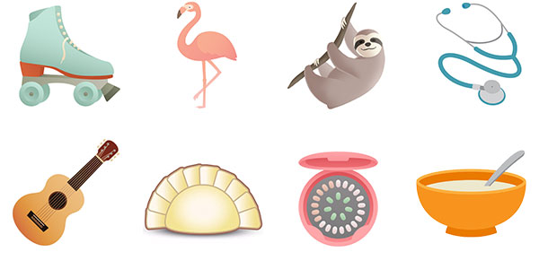 A sampling of emojis designed by Aphee Messer of the Emojination organization.