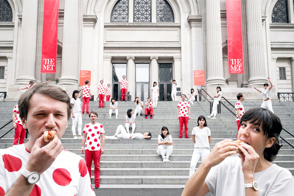 Dozens of Anton Repponens and Irene Pereyras populate the steps of The Metropolitan Museum of Art. The designer duo shaped the UX and design of TheMet website.