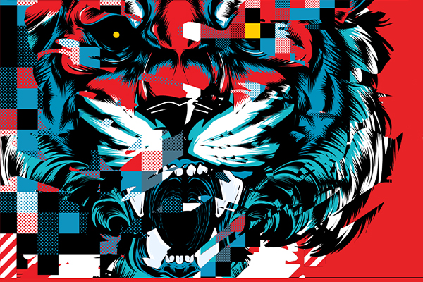 Illustrator and designer Joshua Smith, also known as Hydro74, created this image of a snarling tiger in a glitch style.