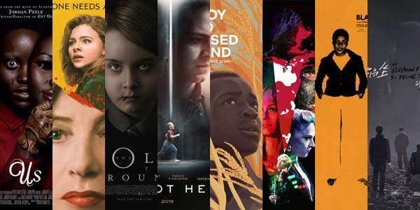 Slices from the posters for the films posters for Us, Greta, The Hole in the Ground, I'm Not Here, The Boy Who Harnessed the Wind, Black Mother, Knife + Heart, and An Elephant Sitting Still